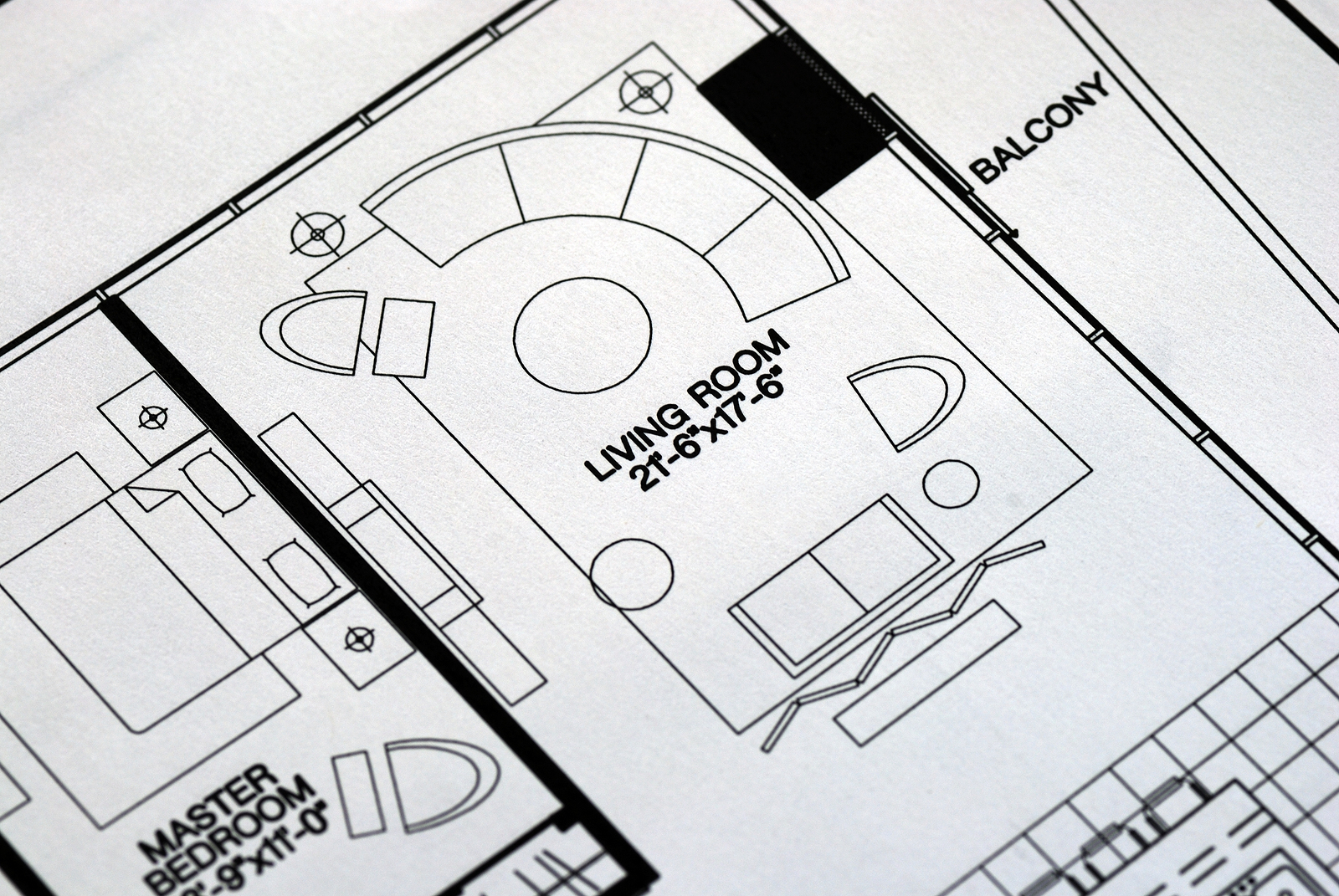 A floor plan focused on the living room and balcony